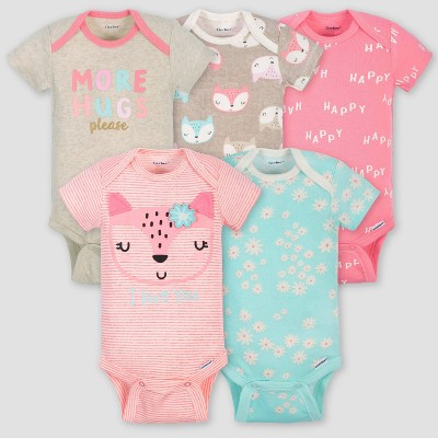 Gerber Baby Girls' 5pk Short Sleeve Fox Bodysuits - Coral/Green/Light Brown 3-6M