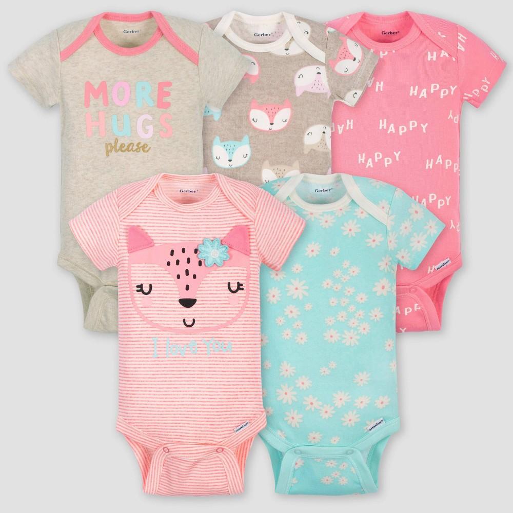Image of petiteGerber Baby Girls' 5pk Short Sleeve Fox Bodysuits - Coral/Green/Light Brown 0-3M, Girl's, Pink