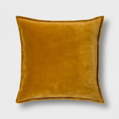 Solid Velvet With Zipper Closure Oversize Square Throw Pillow Gold - Threshold™