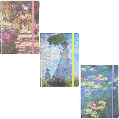 The Gifted Stationary 3-Pack Claude Monet Hardcover Lined Journal Notebooks (7 x 5 in, 160 Pages)