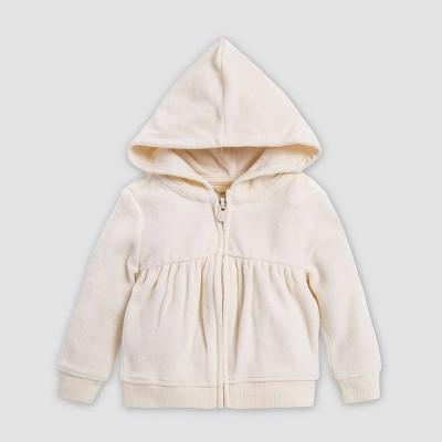 Burt's Bees Baby® Baby Girls' Velour Gathered Organic Cotton Overcoat - Off White 3-6M