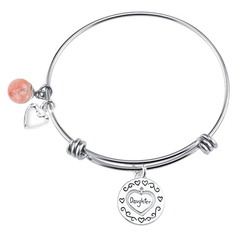 "Stainless Steel ""Daughter"" Charm Expandable Bracelet - 8"" - image 1 of 1"