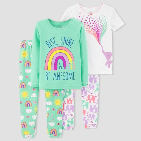 903ff9b64 Toddler Girls' 4pc Rainbow Elephants Pajama Set Just One You™ Made by  Carter's® Teal