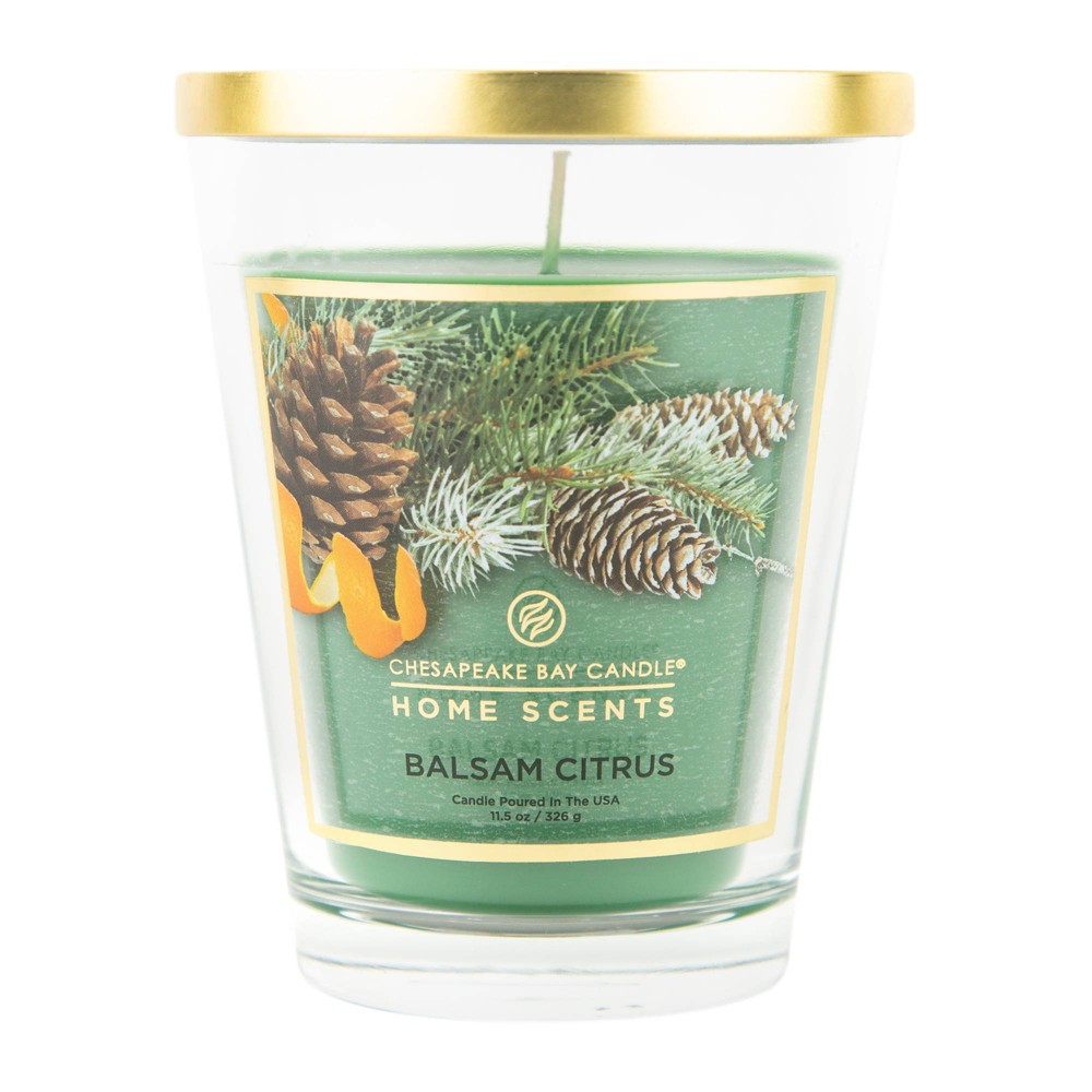 Image of 11.5oz Glass Jar Candle Balsam Citrus - Home Scents by Chesapeake Bay Candle, Green