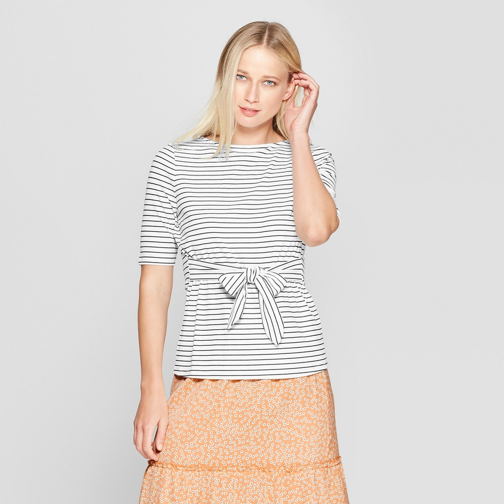 Women's Striped Elbow Sleeve Belted Top - Who What Wear White/Black S
