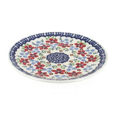 Blue Rose Polish Pottery Red Poppy Dessert Plate