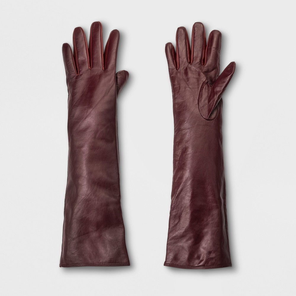 Vintage Style Gloves- Long, Wrist, Evening, Day, Leather, Lace Womens Long Leather Gloves - A New Day Burgundy Red XSS $17.49 AT vintagedancer.com
