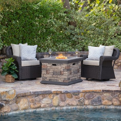 Acadia 3pc Wicker Rocker and MGO Gas Firepit Set - Dark Brown - Christopher Knight Home