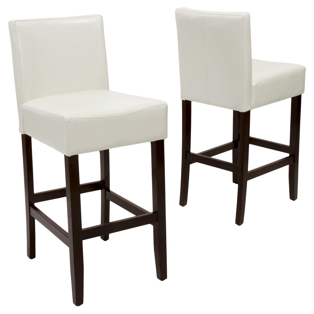 29.5 Lopez Leather Barstool -Ivory (Set of 2) - Christopher Knight Home, Ivory