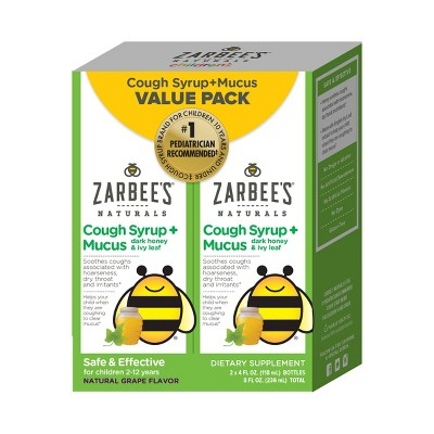 Zarbee's Naturals Twin Pack Cough Syrup Mucus Daytime for Children - Grape - 8 fl oz