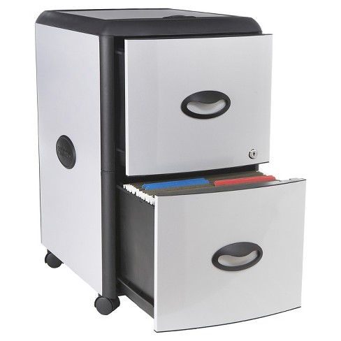 Storex File Cabinet on Wheels, 2 Drawer - Gray with Black Trim - image 1 of 4