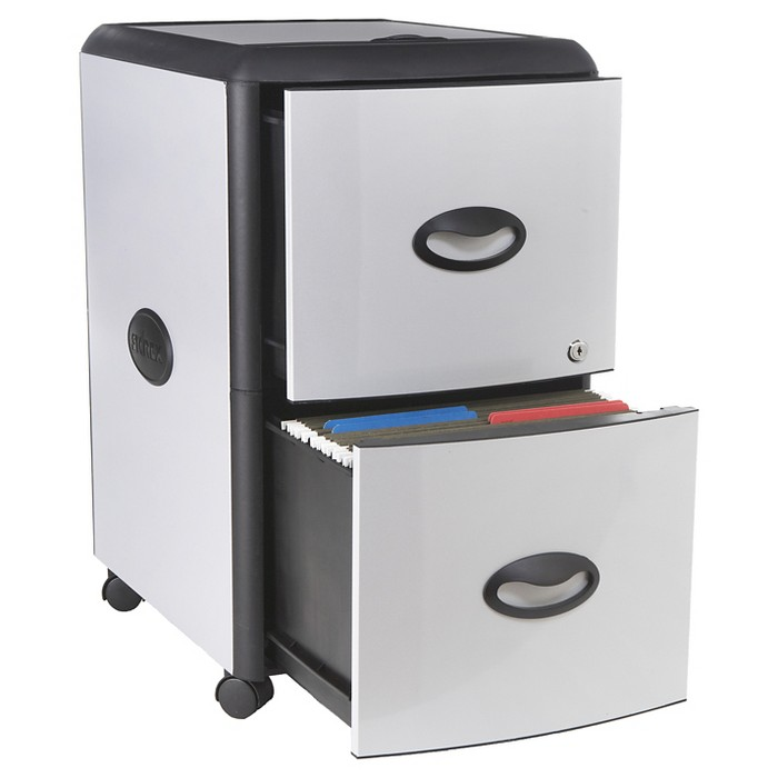 Storex® File Cabinet on Wheels, 2 Drawer - Gray with Black Trim - image 1 of 5