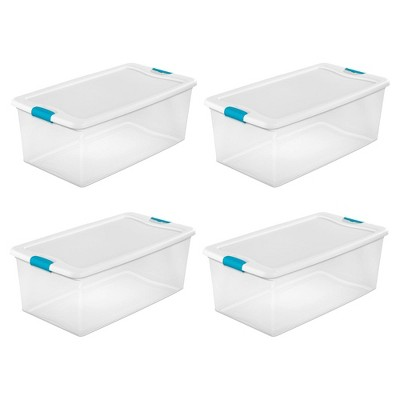 Sterilite 106 Quart Clear Plastic Latching Lid Storage Tote Container, 4 Pack