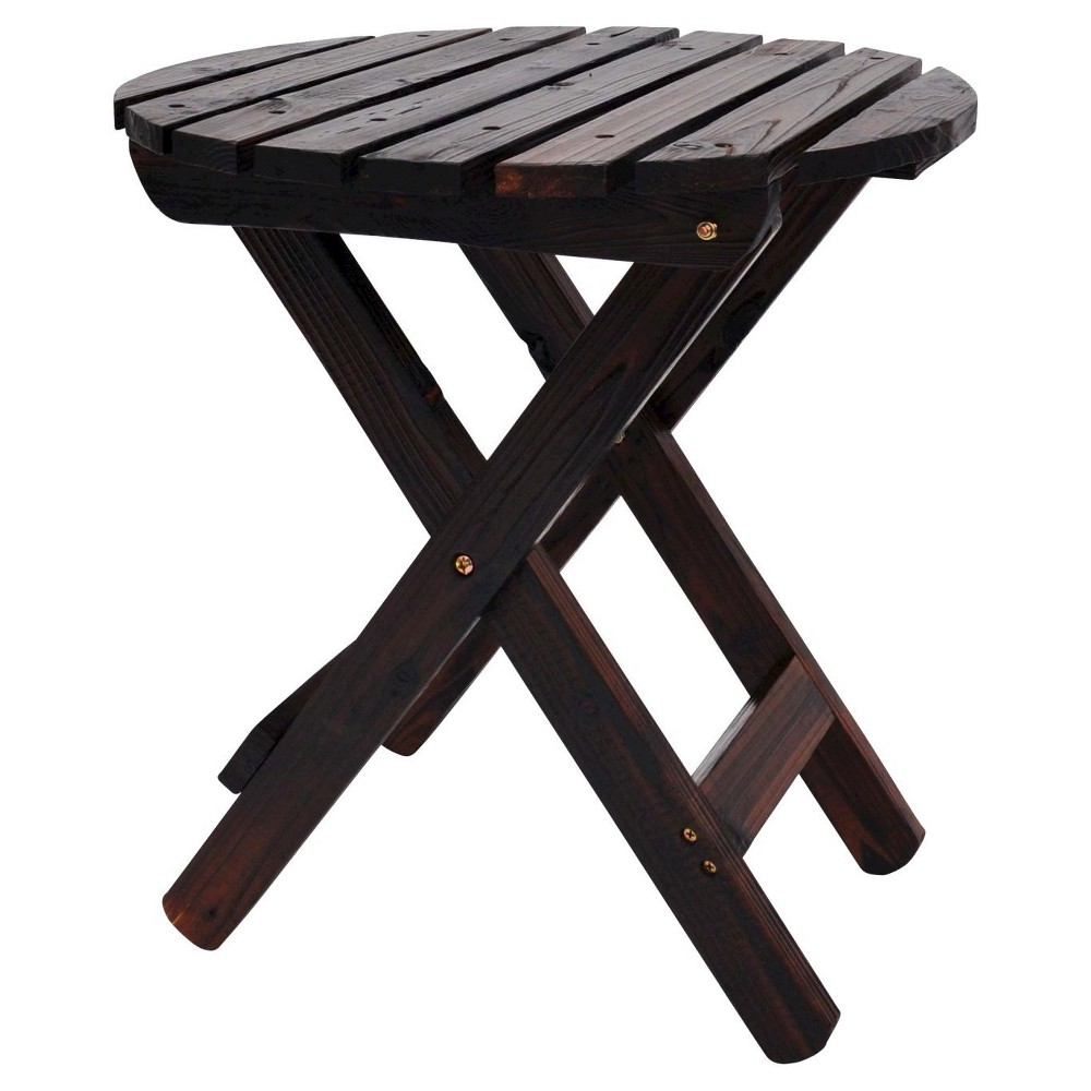Patio Adirondack Folding Table Wood Round Shine Company