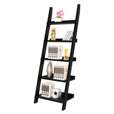 "72.25"" Exhibiting Modern Ladder Bookshelf Black Universe - Benzara"