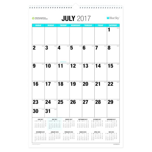 2017-2018 Blue Sky® Academic Wall Calendar - Blue Accent - image 1 of 1