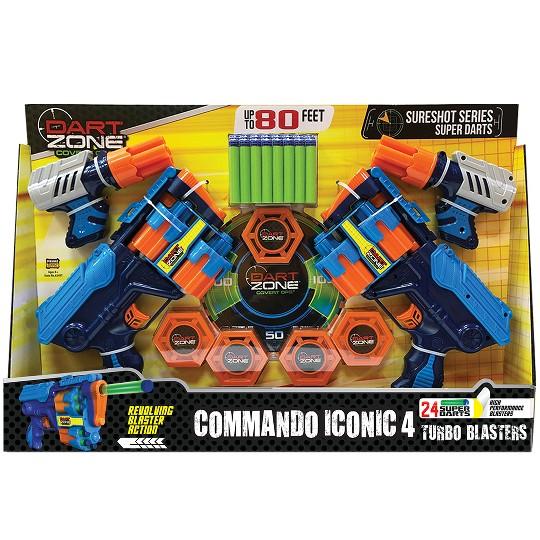 Dart Zone Commando Iconic 4 Turbo Dart Blasters (5x Targets 24x Super Darts)) image number null