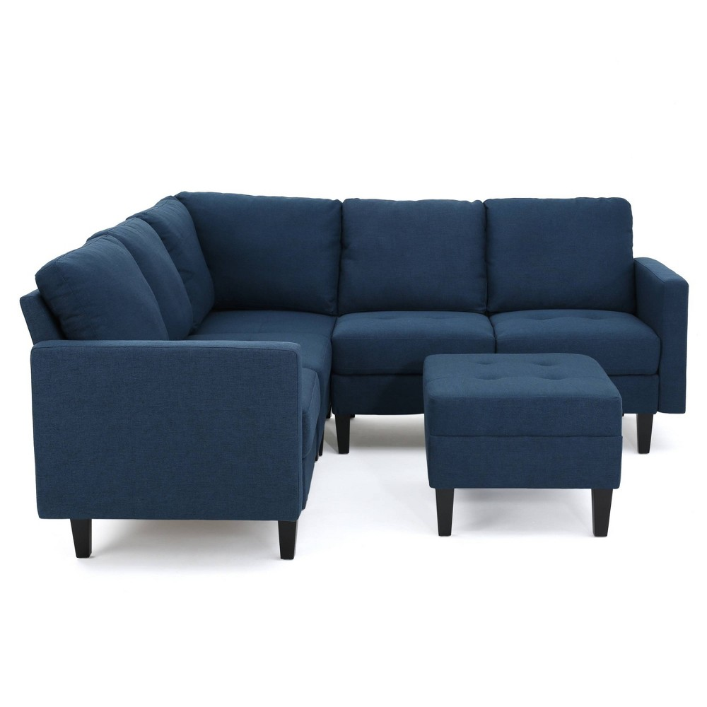 Brilliant 6Pc Zahra Sectional Couch Set Deep Blue Christopher Knight Onthecornerstone Fun Painted Chair Ideas Images Onthecornerstoneorg