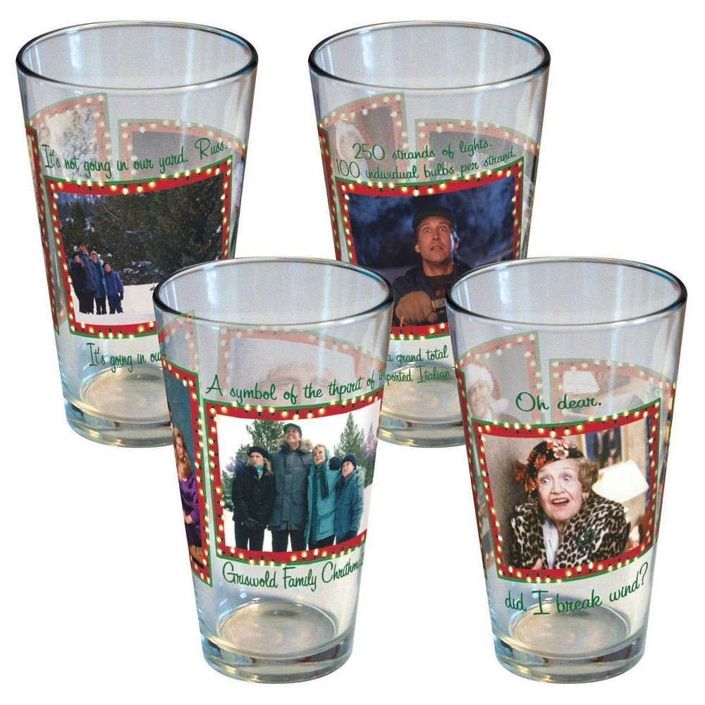 Image of National Lampoon 16oz 4pk Glass Holiday Memories Pint Glasses