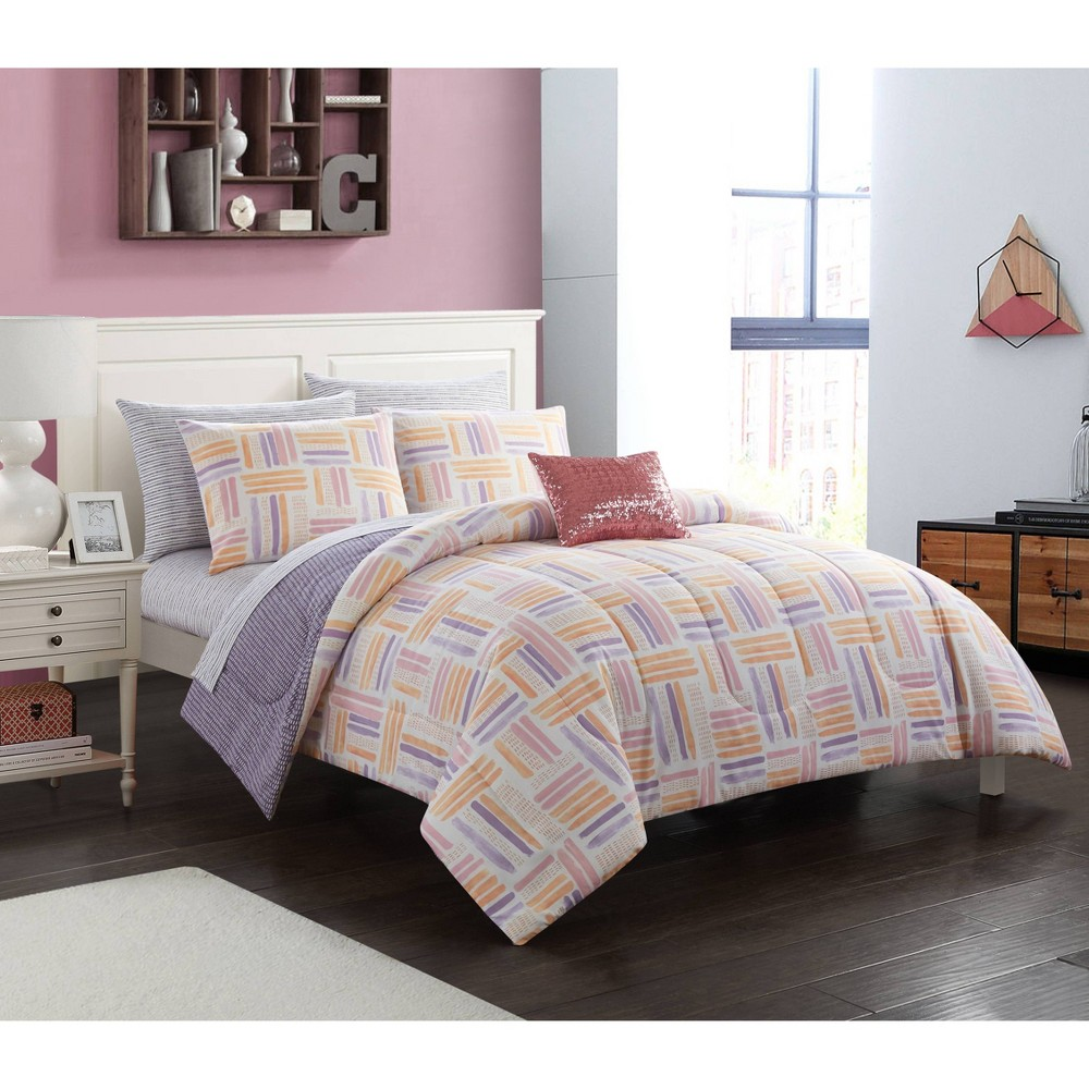 Image of Full Laila Watercolor Bed in a Bag Lavender - Heritage Club