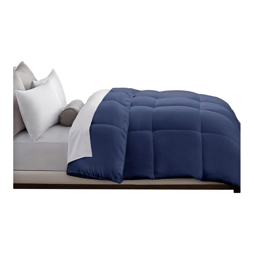Microfiber Down Alternative Comforter (Full/Queen) Navy (Blue)