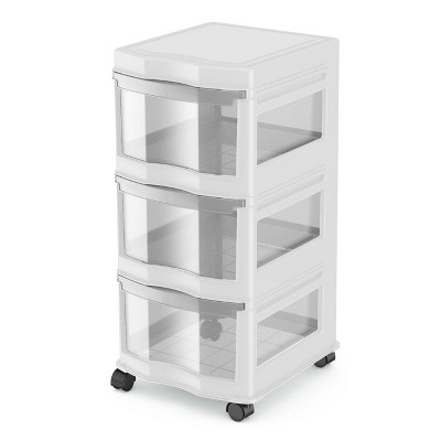 Life Story Classic White 3 Shelf Home Storage Container Organizer Plastic Drawers with Wheels for Closet, Dorm, or Office