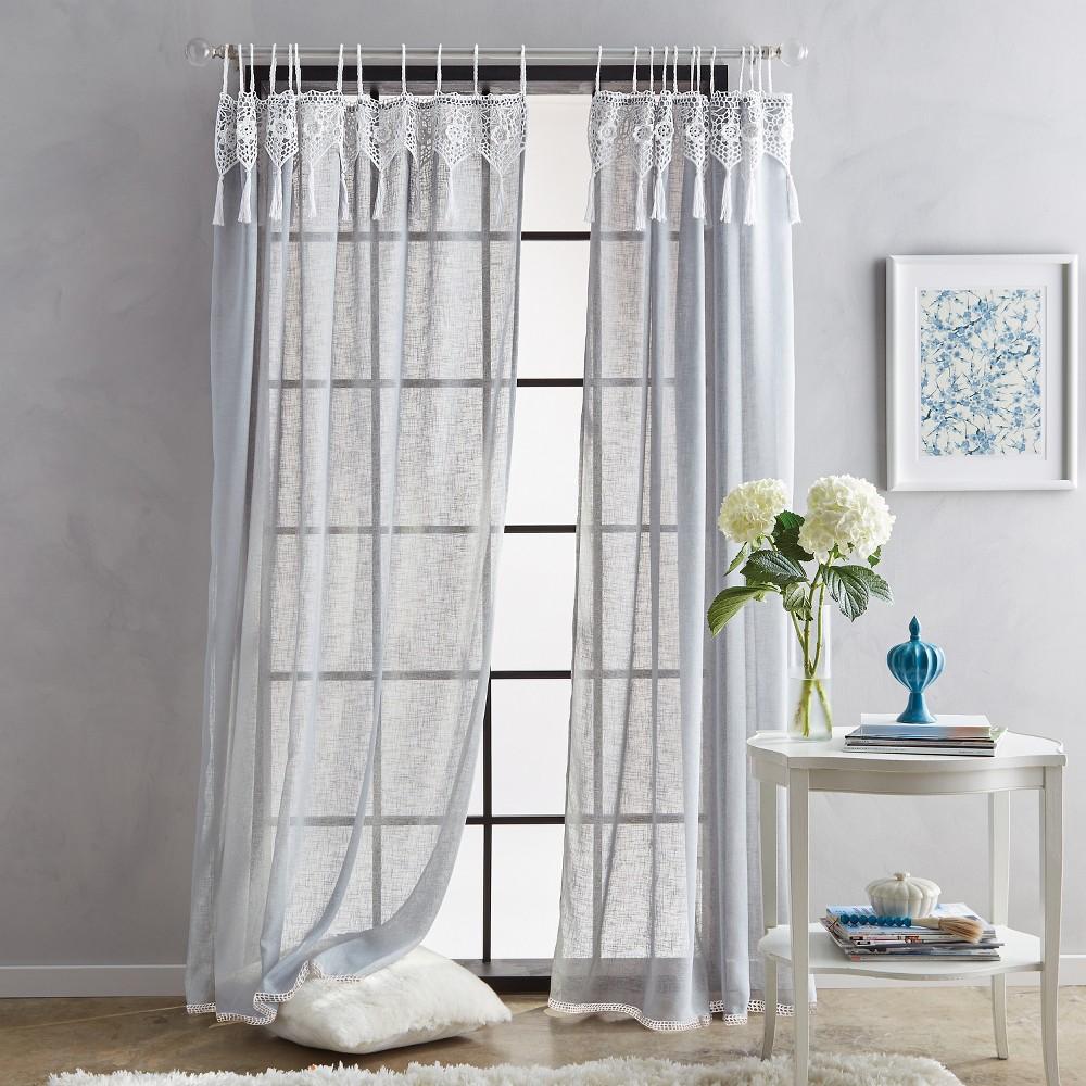 84 Suri Macrame Tab Curtain Panel Gray
