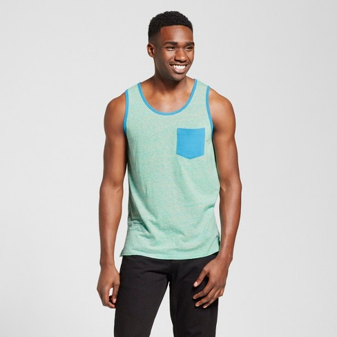 Men's Vented Hem Tank with Pocket - Mossimo Supply Co.™ Turquoise Heather M - image 1 of 2