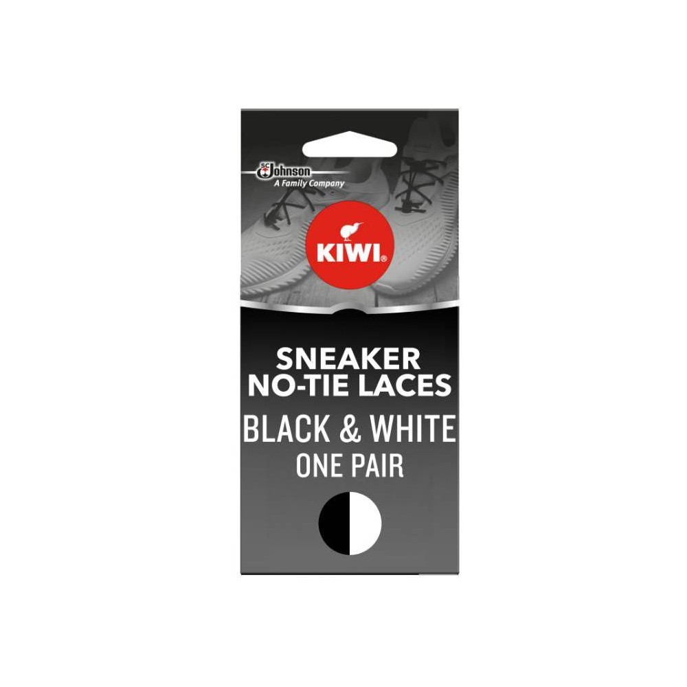 """Image of """"Kiwi One-Touch Elastic No Tie Sneaker Shoe Laces - Black & White 45"""""""", Adult Unisex, Size: Small, Gray"""""""