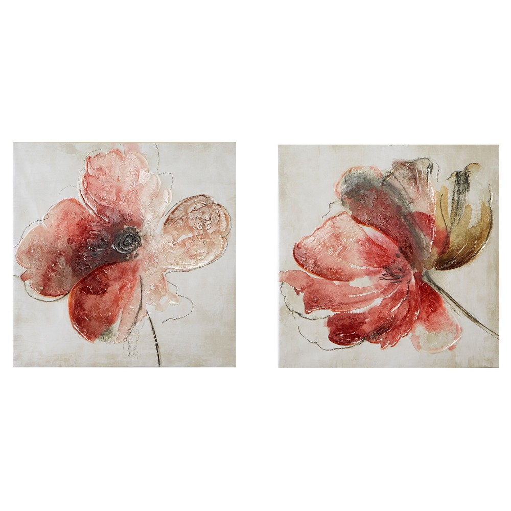 Lovely Blooms Hand Embellished Canvas 2 Piece Set, Pink