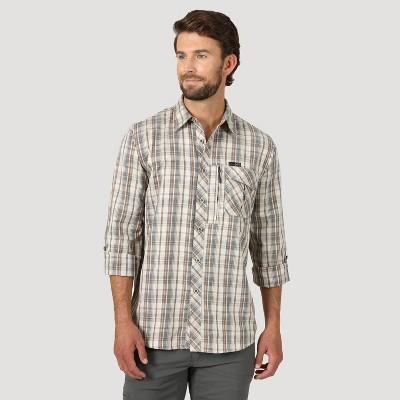 Wrangler Men's Button-Down Shirt - Brown Oatmeal