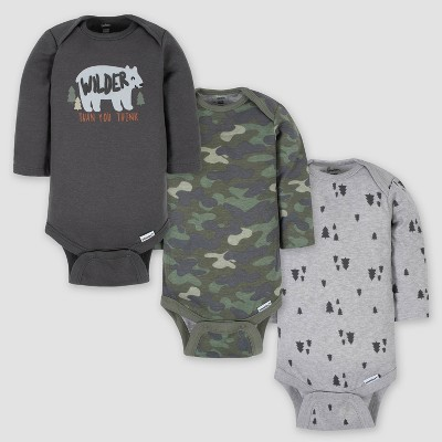 Gerber Baby Boys' 3pk Wild Bear Long Sleeve Onesies - Gray 3-6M