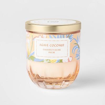 7oz Lidded Peach Ribbed Base Glass Jar Agave Coconut Candle - Opalhouse™