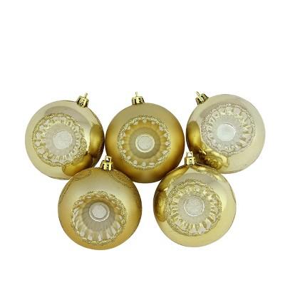 "Northlight 5ct Shatterproof Shiny and Matte Retro Reflector Christmas Ball Ornament Set 3.25"" - Gold"