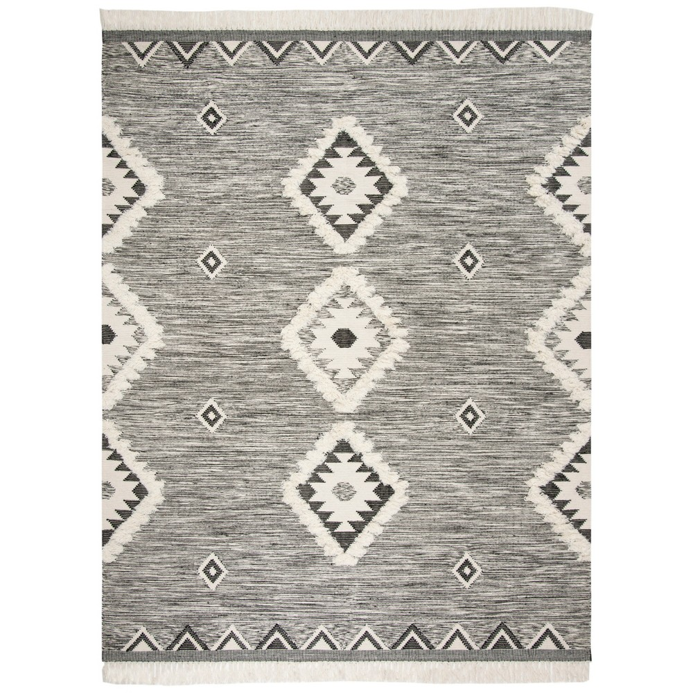 8'X10' Tribal Design Knotted Area Rug Black/Ivory - Safavieh