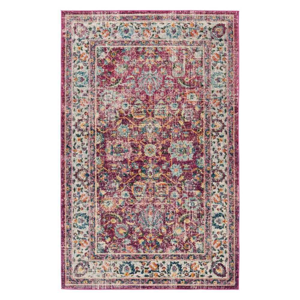 4'X6' Floral Area Rug Red - Safavieh, Red/Multi-Colored