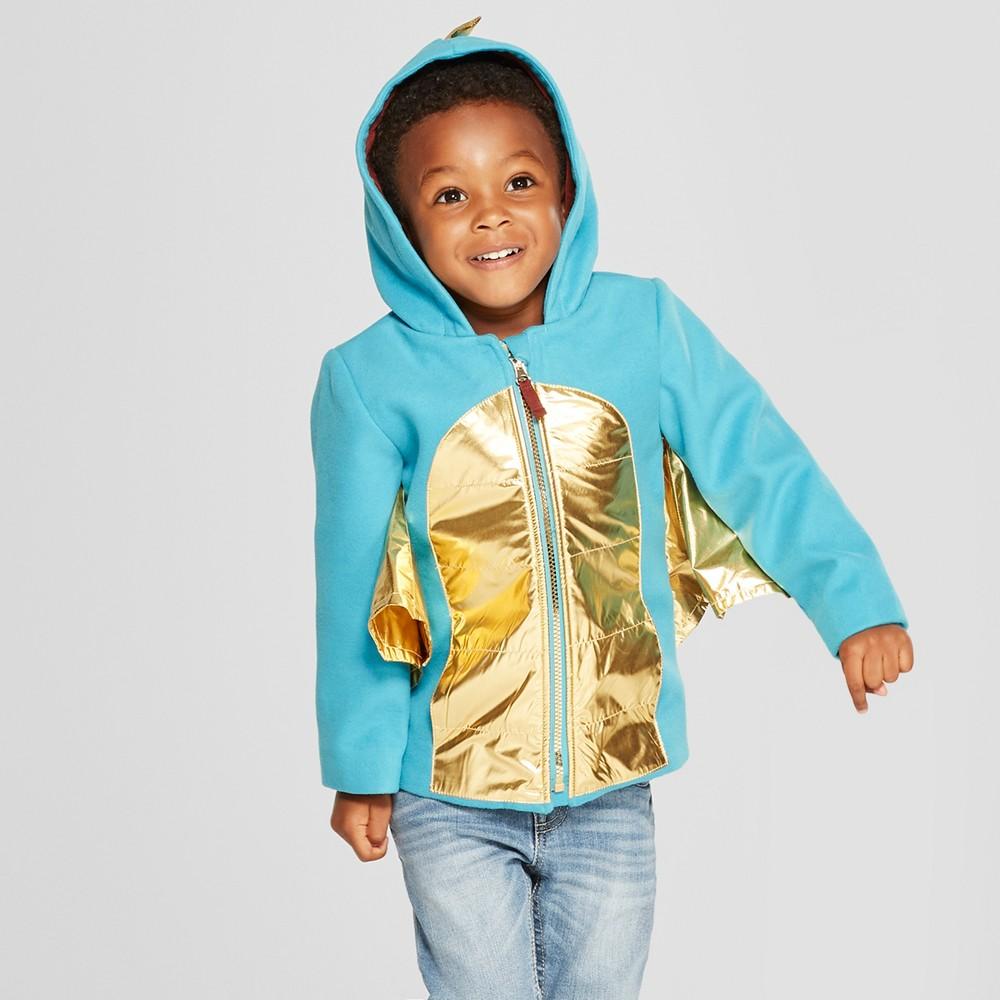 Toddler Boys' Dragon Faux Wool Softshell Jacket - Cat & Jack Teal 7, Blue