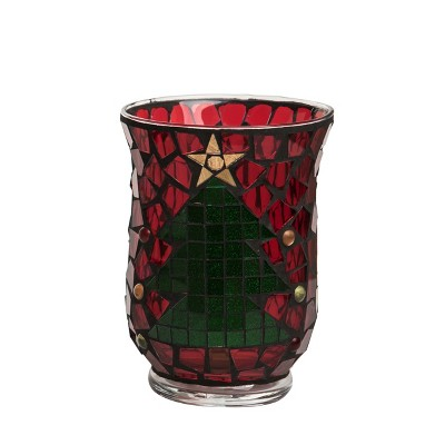 Transpac Glass 6 in. Red Christmas Mosaic Hurricane