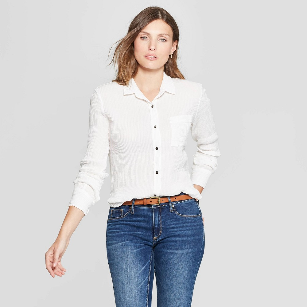 d28ce12f1efb9f ... to your closet with the Long Sleeve Collared Button Down Shirt from Universal  Thread. In classic white, this long sleeve button down features a textured  ...