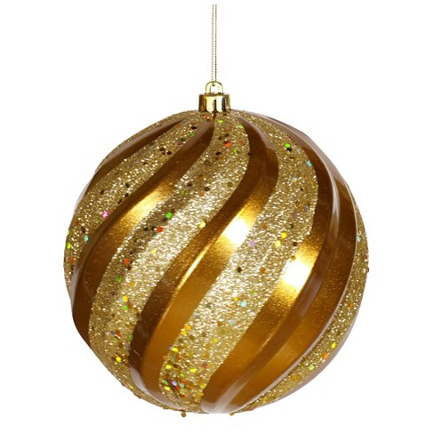 "6"" Antique Gold Glitter Swirl Ball Christmas Ornament - image 1 of 1"