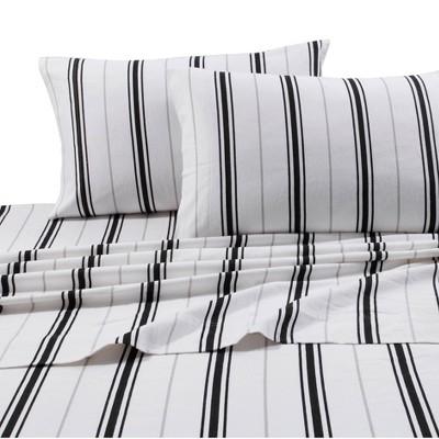 Full Printed Pattern Extra Deep Pocket Flannel Sheet Set Black Stripe - Tribeca Living