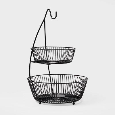Iron Wire 2-Tier Fruit Basket wire Banana Hanger Black - Threshold™