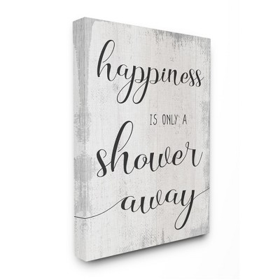 Stupell Industries Happiness is a Shower Away Rustic Bathroom Sign