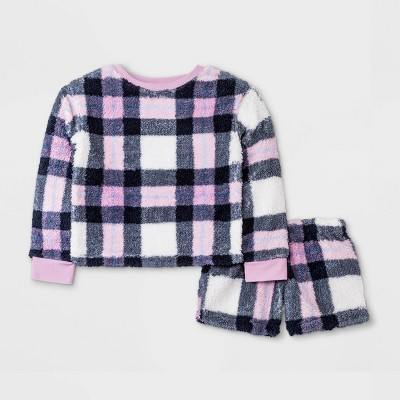 Girls' Cozy Plaid Sherpa Pajama Set - art class™ Violet