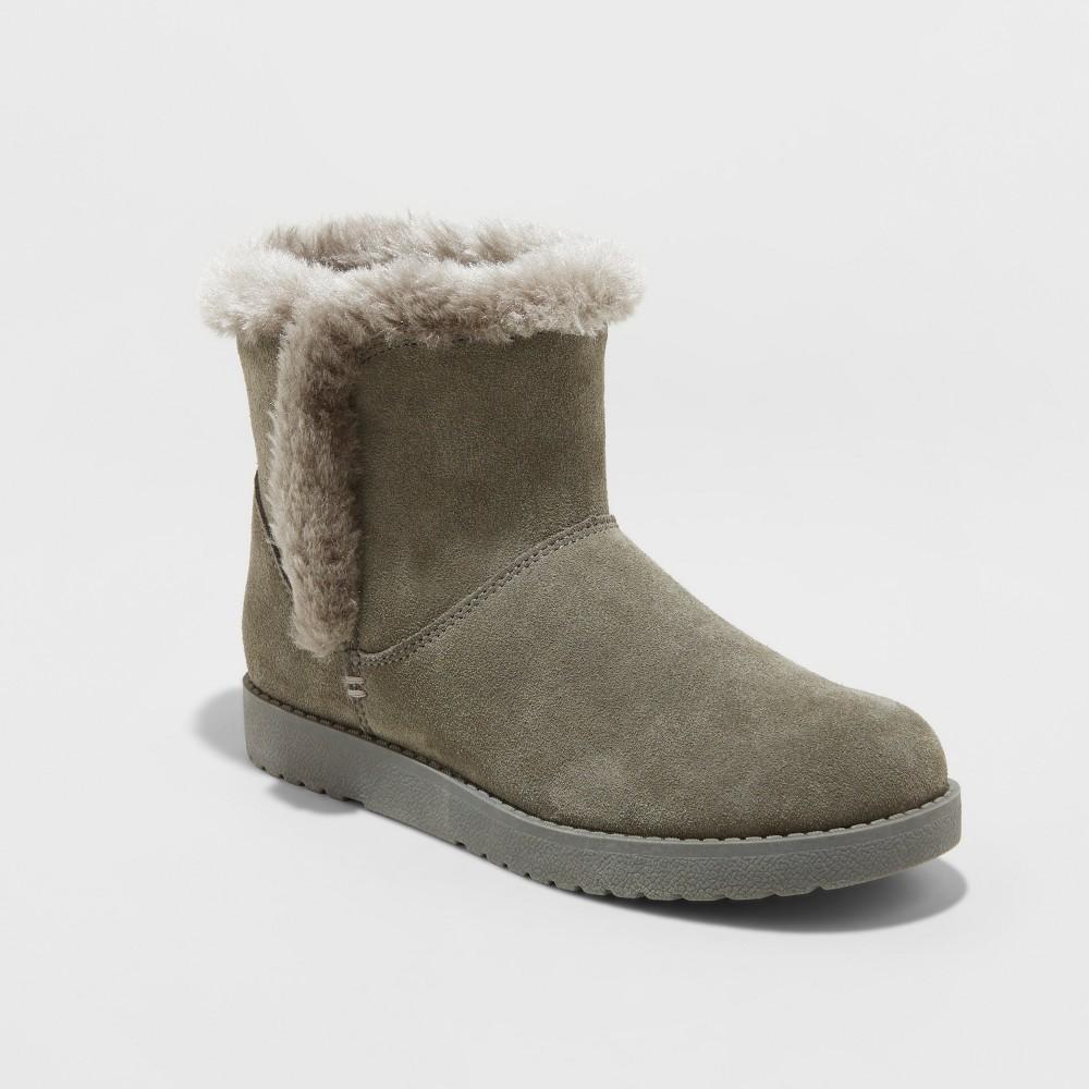 Women's Bellina Wide Width Suede Short Winter Boots - Universal Thread Gray 7W, Size: 7 Wide