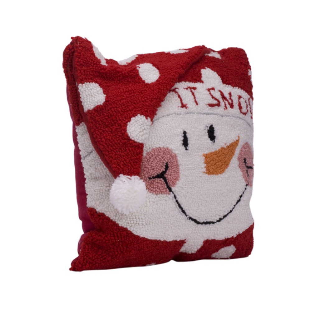 "Image of ""14"""" Hooked 3D Snowman Throw Pillow - Glitzhome"""