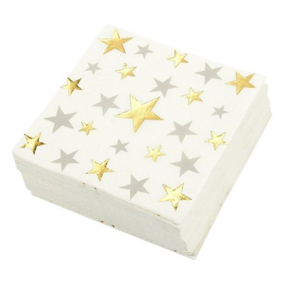Blue Panda 50 Pack White Star Disposable Paper Cocktail Napkins Party Supplies 5 x 5 Inches