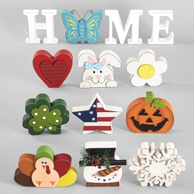 Lakeside 13 Piece Home Tabletop Decoration with Interchangeable Holiday Icons - White