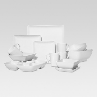 Square Coupe White Porcelain Dinnerware Collection - Threshold™