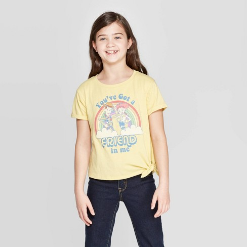 Girls' Toy Story Jessie Tie Front Short Sleeve T-Shirt - Yellow - image 1 of 7
